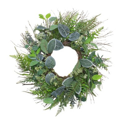 Northlight Ivy and Fern Spring Floral Wreath, Green 22-Inch