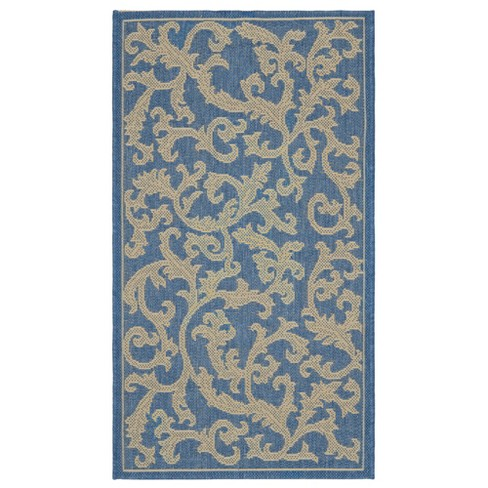 "Savoy Rectangle 2'7"" X 5' Outdoor Rug - Blue / Natural - Safavieh® - image 1 of 2"