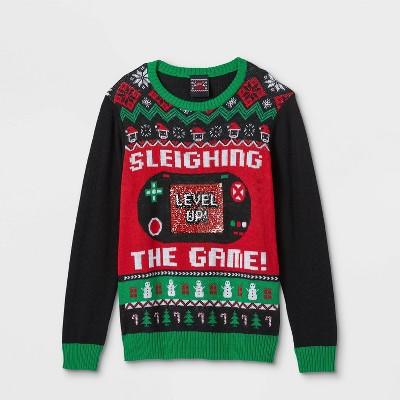 Boys' Santa Sleighing the Game Pullover Sweater - Black
