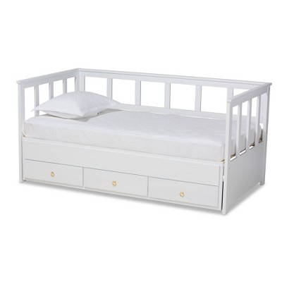 Kendra Expandable Daybed with Storage Drawers White - Baxton Studio