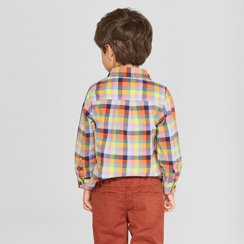 e2526f86489c9 Toddler Boys  Long Sleeve Plaid Button-Down Shirt - Cat   Jack™ Blue Yellow    Target
