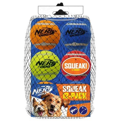 "NERF Squeak Tennis Ball Dog Toy - 12pk - 2.5"""