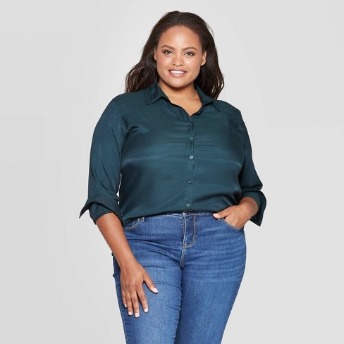 Women's Plus Size Long Sleeve Collared Button-Up Blouse - Ava & Viv™ Dark Green - image 1 of 2