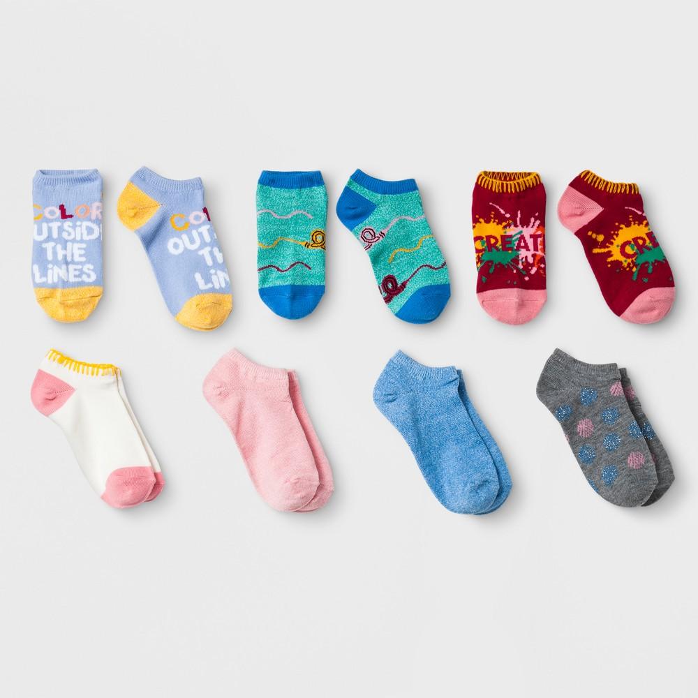 Girls' 7pk No Show Socks - Cat & Jack L, Multicolored