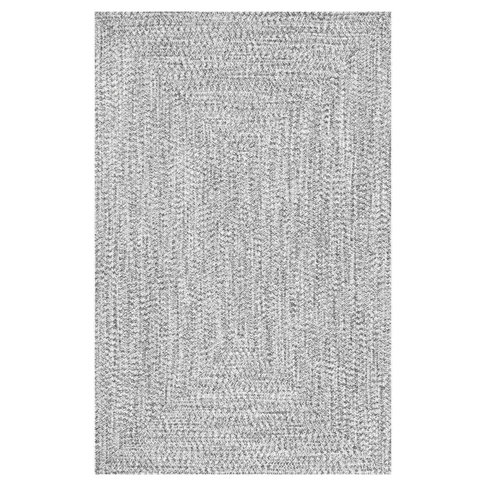 Black Stripe Braided Area Rug - (5'x8') - nuLOOM, Salt And Pepper