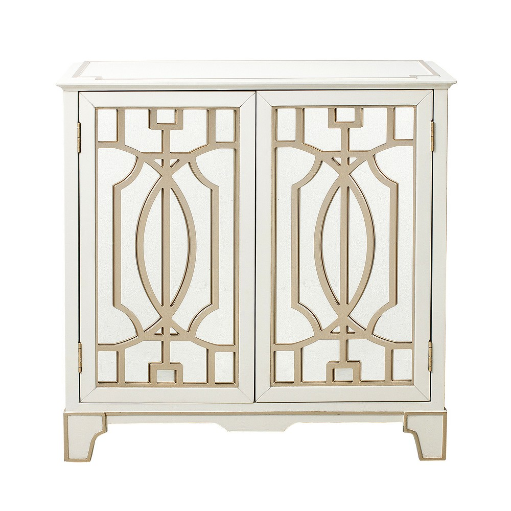 Vaughn Traditional Mirrored Door Chest with Champagne Gold Overlays White - Pulaski