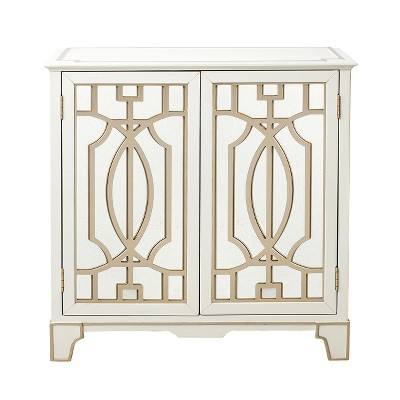 Vaughn Traditional Mirrored Door Chest With Champagne Gold Overlays White    Pulaski