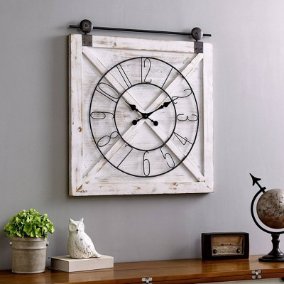 "27"" x 29"" Farmhouse Barn Door Wall Clock Weathered White - FirsTime & Co."