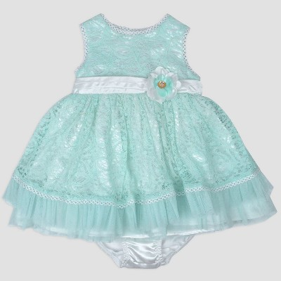 Baby Girls' Metallic Dress with Satin Belt Nate & Annee™ Green 3-6M