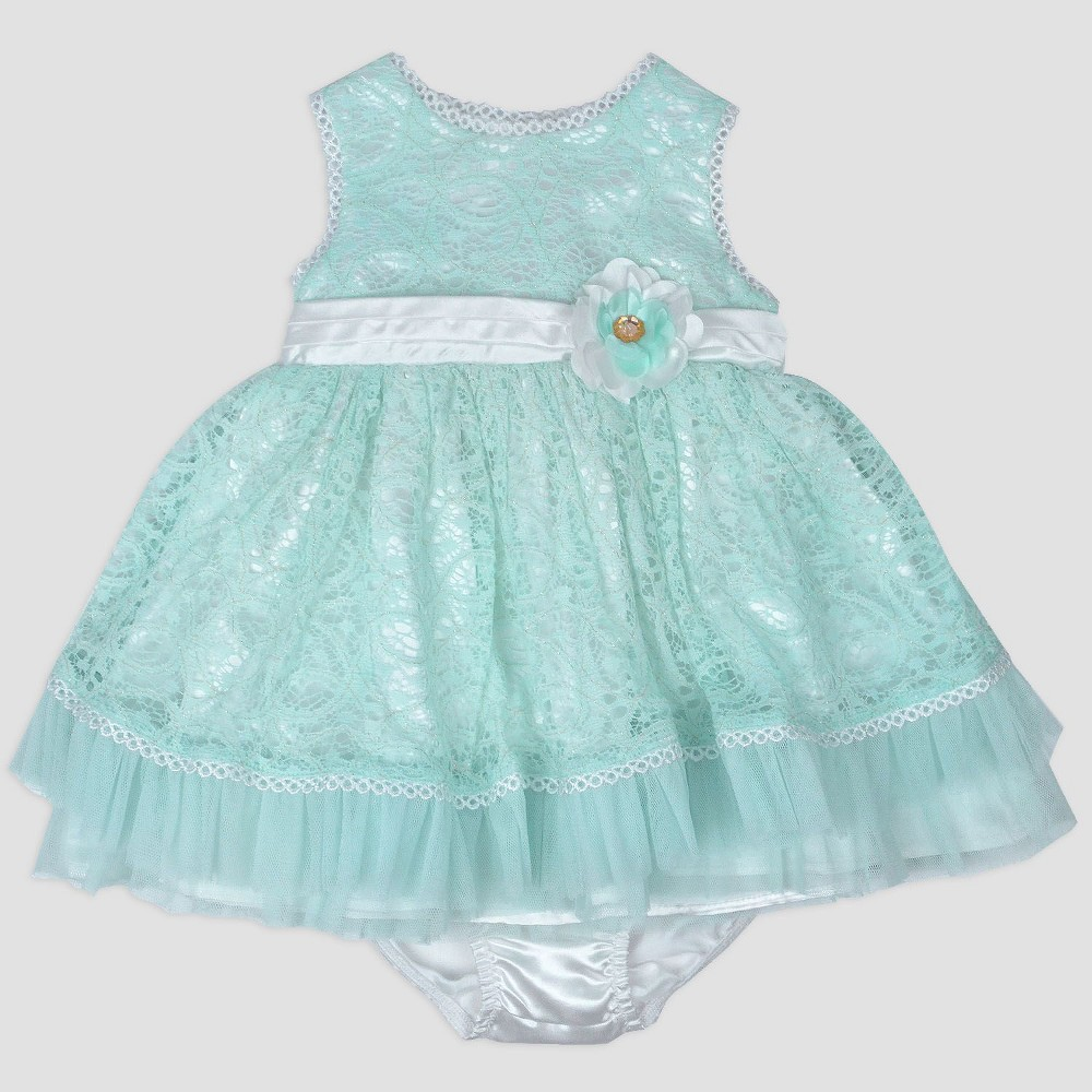 Baby Girls' Metallic Dress with Satin Belt Nate & Annee Green 24M