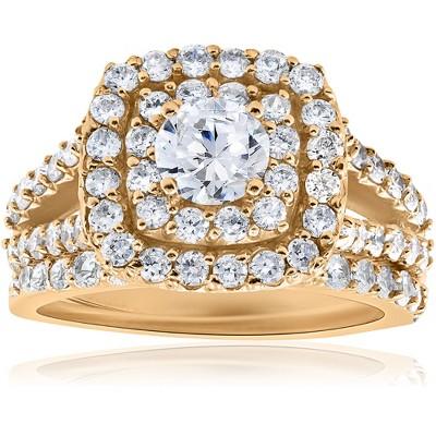 Pompeii3 2ct Diamond Engagement Double Cushion Halo Wedding Ring Set 10k Yellow Gold