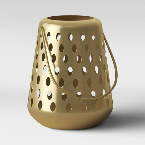 """10"""" Small Metal Perforated Outdoor Lantern Gold - Opalhouse™ - image 1 of 4"""