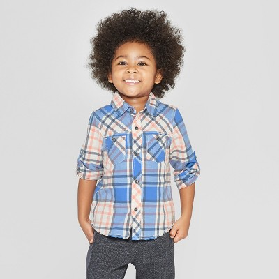 Genuine Kids® from OshKosh Toddler Boys' Long Sleeve Woven Plaid Button-Down Shirt - Blue 12M