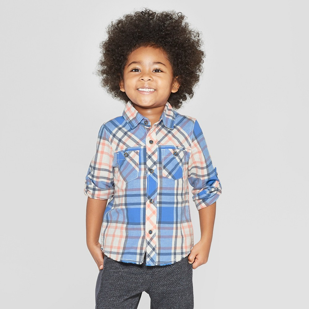 Genuine Kids from OshKosh Toddler Boys' Long Sleeve Woven Plaid Button-Down Shirt - Blue 4T
