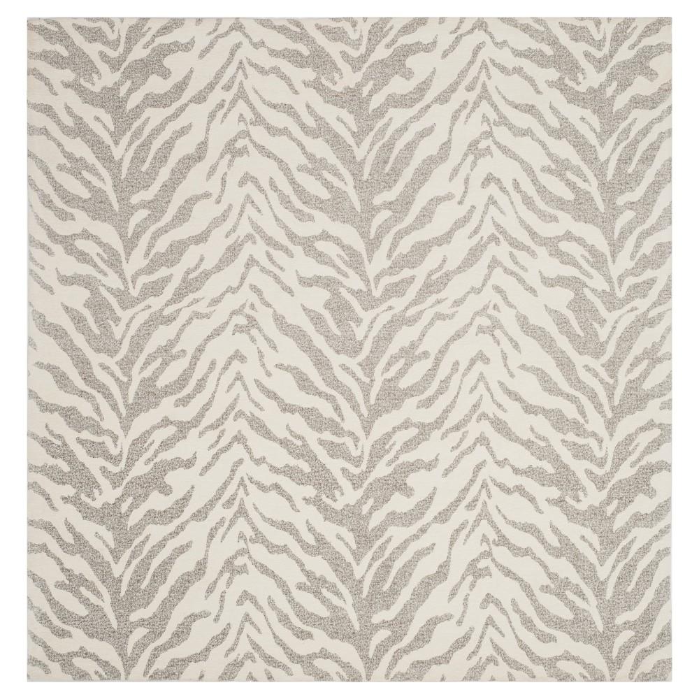 Light Gray/Ivory Animal Print Woven Square Area Rug 6'X6' - Safavieh