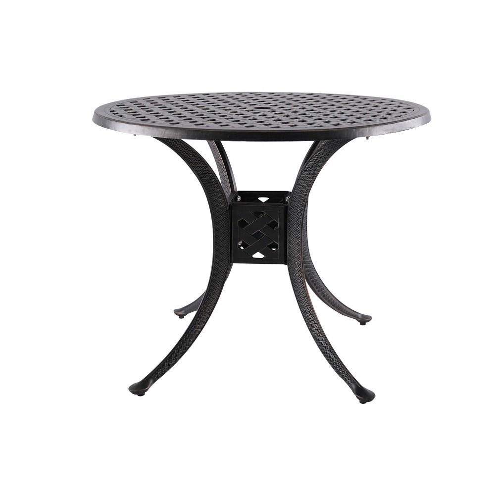"Image of ""36""""Cast Aluminum Round Patio Dining Table Black - Nuu Garden"""