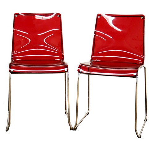 Lino Transparent Acrylic Accent Dining Chair - Red (Set Of 2) - Baxton Studio - image 1 of 2