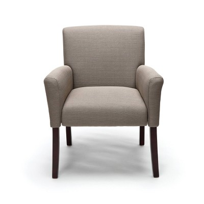 Fabric Executive Guest Chair with Arms and Wooden Legs Tan - OFM