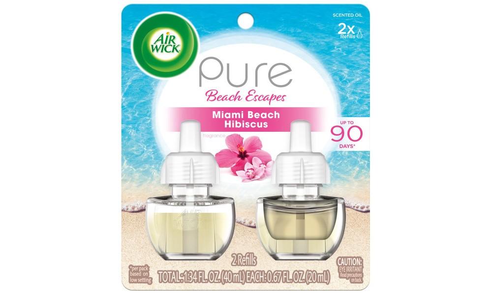 Image of Air Wick Pure Beach Escapes Miami Beach Hibiscus Scented Oil Twin Refill - 2ct/0.67oz, White