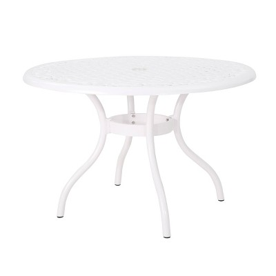 Phoenix Round Cast Aluminum Dining Table - White - Christopher Knight Home