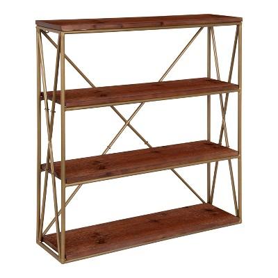 "24.25"" x 6"" x 22"" Ascencio 4-Tier Wood and Metal Wall Shelf - Kate & Laurel All Things Decor"