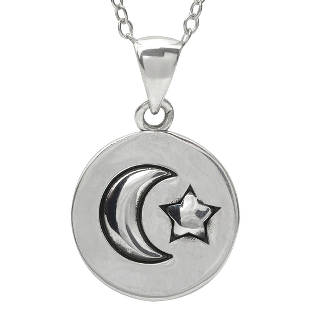 Women's Journee Collection Sterling Silver Moon and Star Necklace
