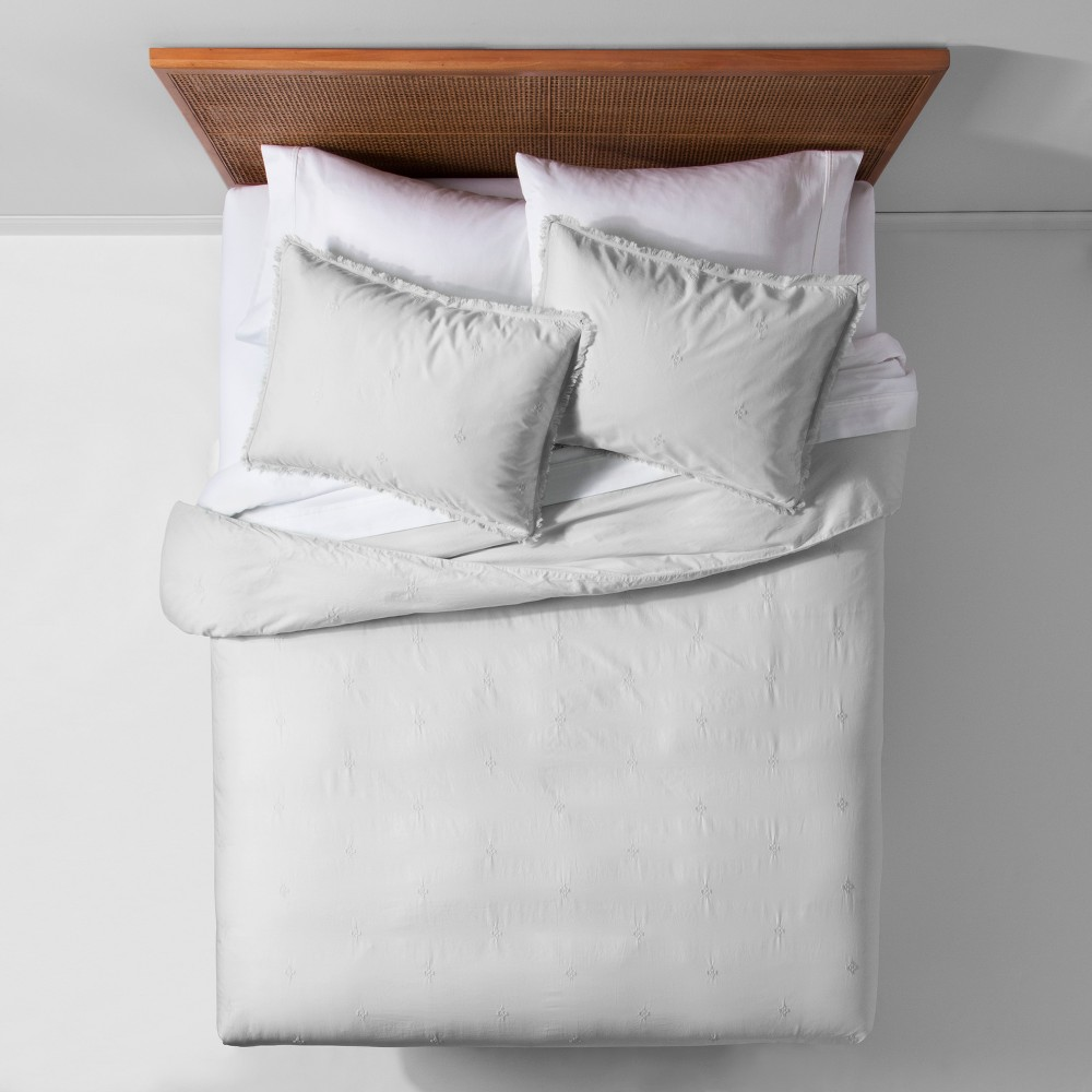 Gray Garment Washed Embroidered Duvet Cover Set (Twin/Twin XL) - Opalhouse
