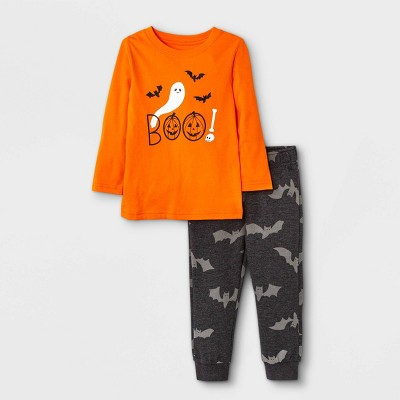 Toddler Boys' 2pc Halloween 'Boo' Long Sleeve T-Shirt and Fleece Jogger Pants Set - Cat & Jack™ Orange