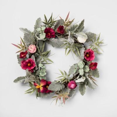 18  Artificial Ranunculus Wreath - Opalhouse™