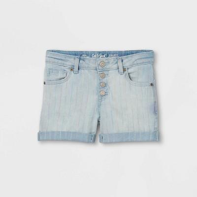 Girls' Button-Front Rainbow Jean Shorts - Cat & Jack™ Light Wash