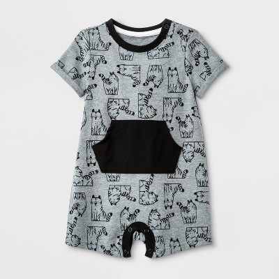 Baby Boys' Short Sleeve  Tiger  Jersey Romper - Cat & Jack™ Gray 0-3M