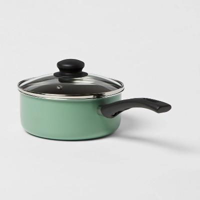 2qt Aluminum Nonstick Covered Saucepan Light Green - Room Essentials™