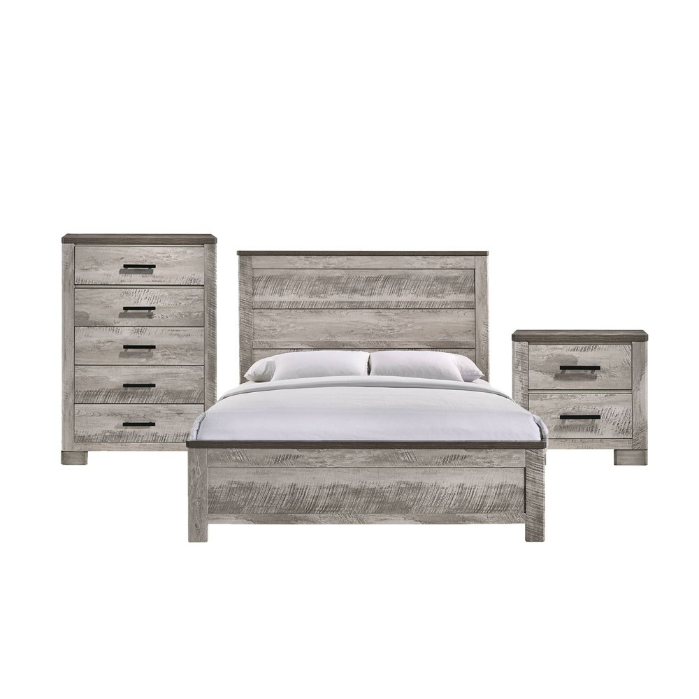 Image of 3pc Queen Adam Panel Bedroom Set Gray - Picket House Furnishings