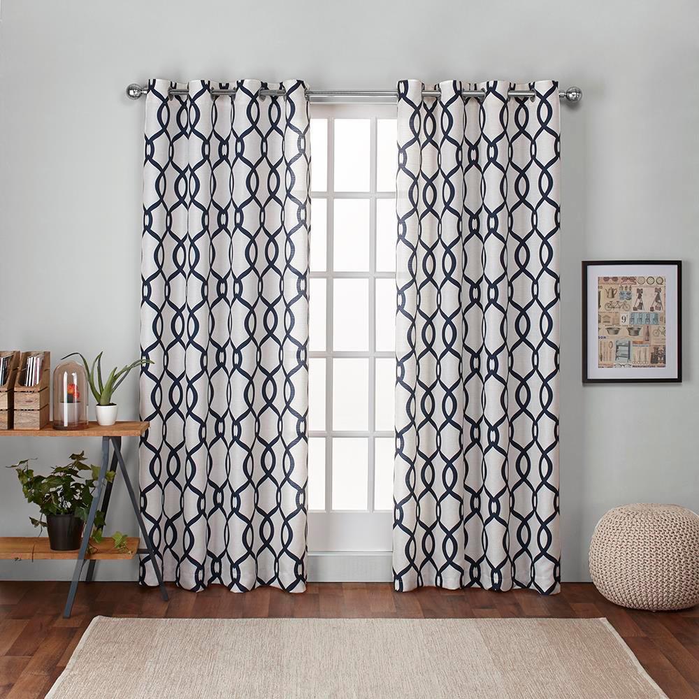 Kochi Linen Blend Grommet Top Window Curtain Panel Pair Indigo (Blue) (54
