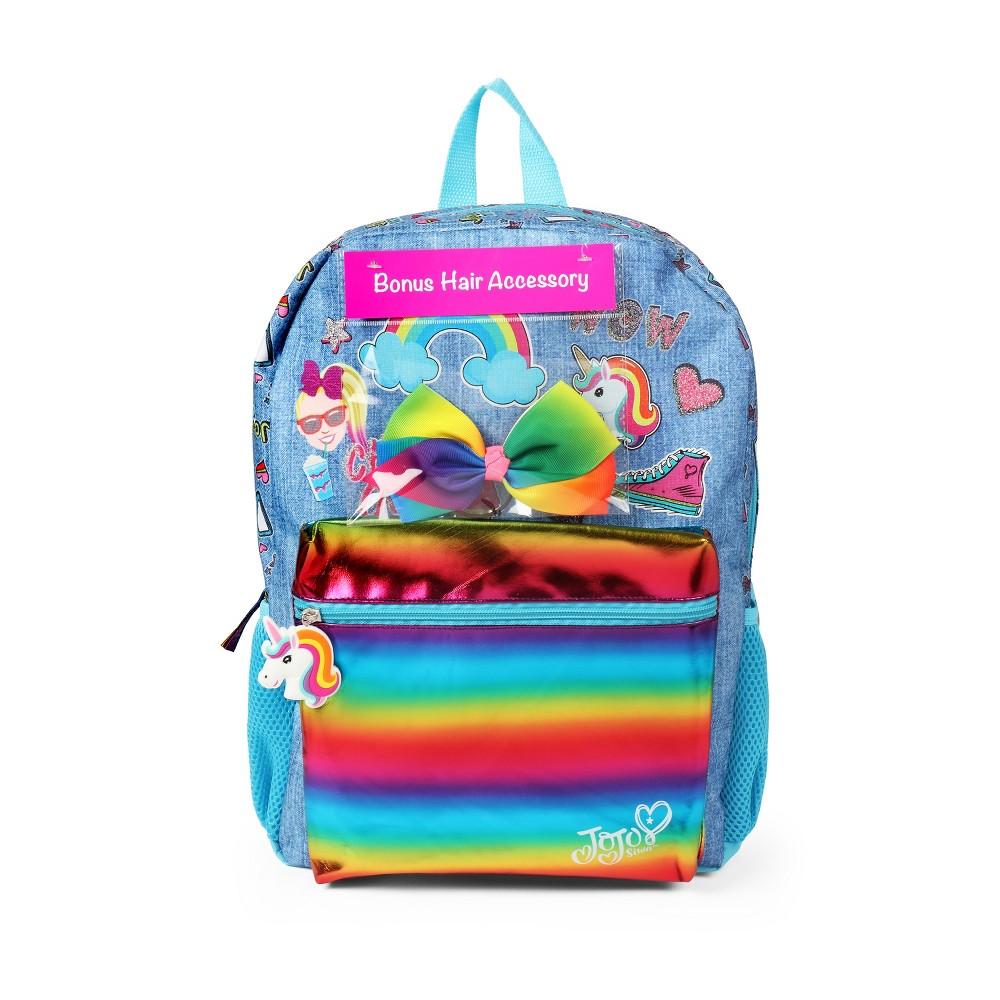 JoJo Siwa 16'' Kids' Backpack with Bonus Hair Bow, Multi-Colored