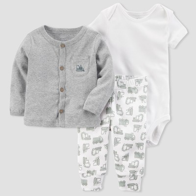 Baby Boys' Cardigan and Pant Set - little planet™ organic by carter's® Gray/White 9M