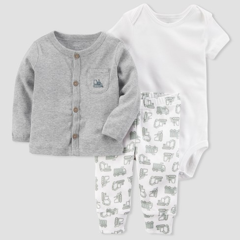 Baby Boys' Cardigan and Pant Set - little planet™ organic by carter's® Gray/White 6M - image 1 of 1