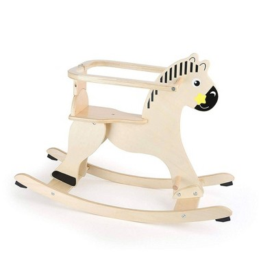 Small Foot Wooden Toys Natural Wooden Rocking Horse With Removable Protective Ring