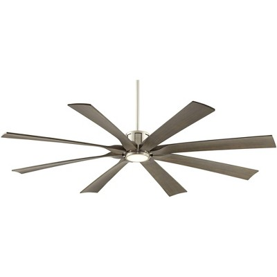 "70"" Possini Euro Design Modern Outdoor Ceiling Fan with Light LED Dimmable Remote Brushed Nickel Light Wood Damp Rated Patio Porch"