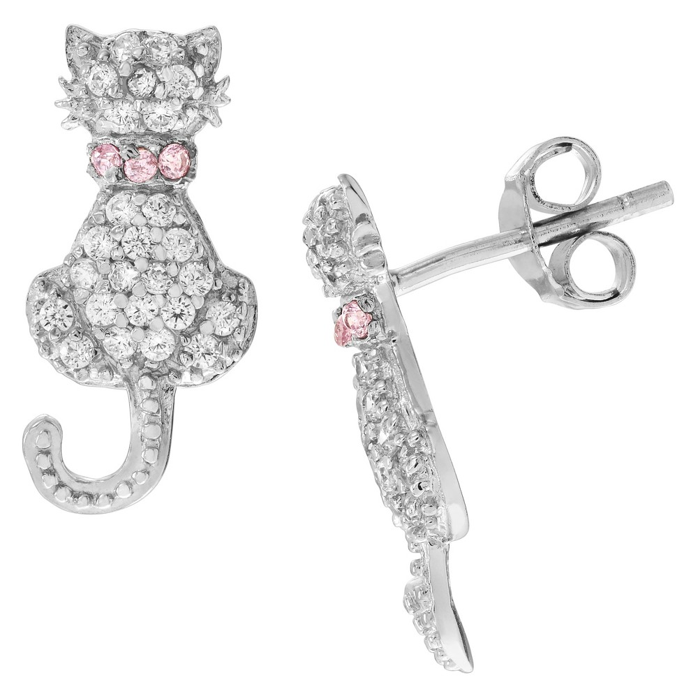 2/5 CT. T.W. Round-cut Cubic Zirconia Cat Stud Pave Set Earrings in Sterling Silver - Pink, Girl's