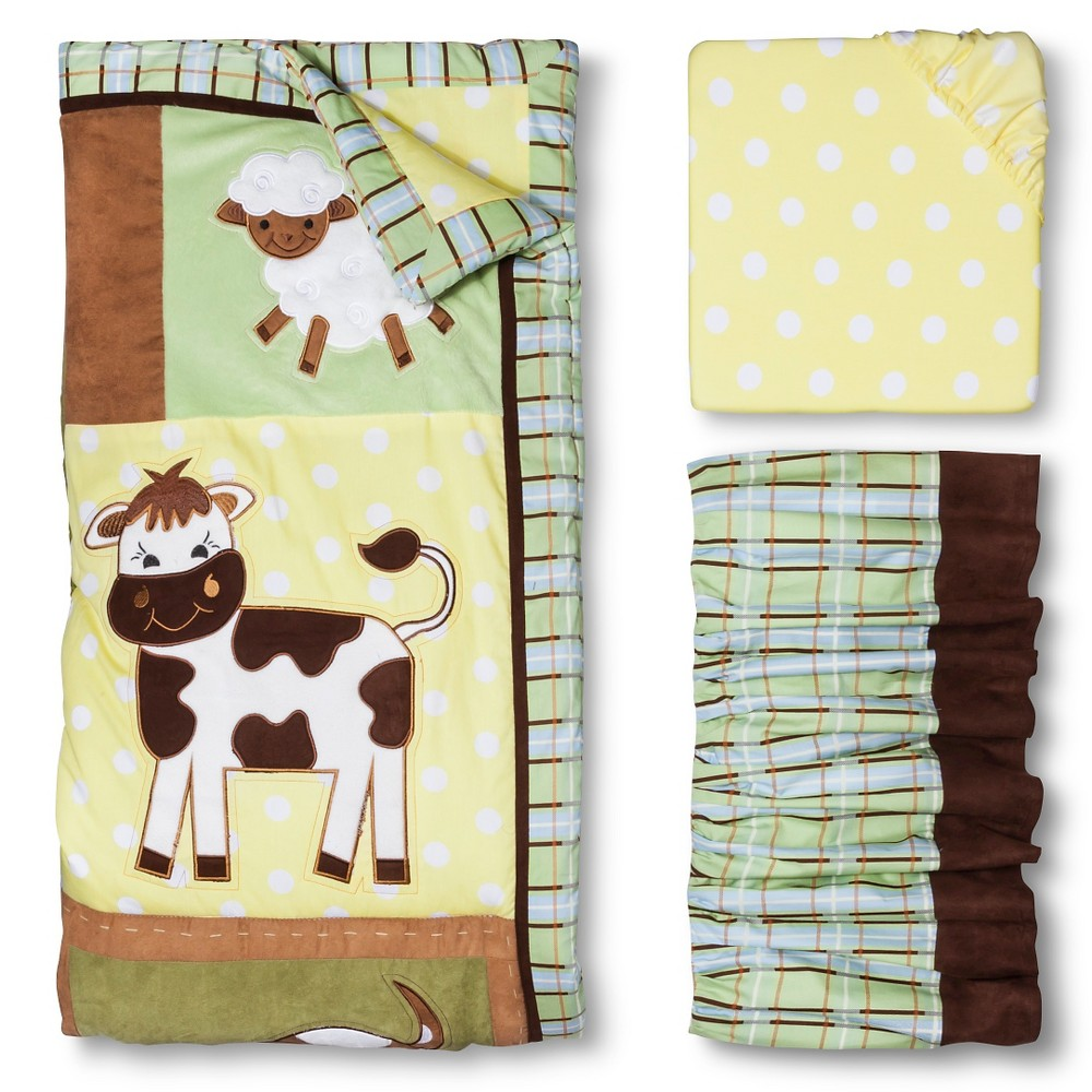 Trend Lab 3pc Crib Bedding Set – Baby Barnyard