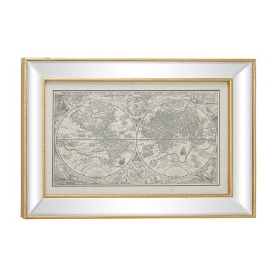 "28.5"" x 19.5"" Large Vintage Style Petrus Plancius World Map Illustration Textile in Rectangular Mirror and Gold Frame - Olivia & May"