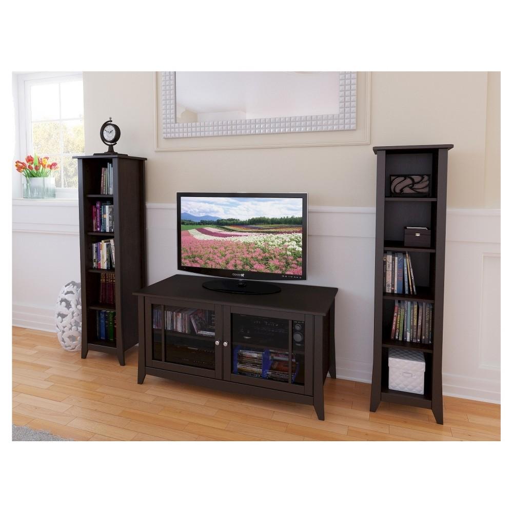 Elegance Entertainment Kit with TV Stand and 2 Bookcases - 49 - Espresso - Nexera, Espresso Brown