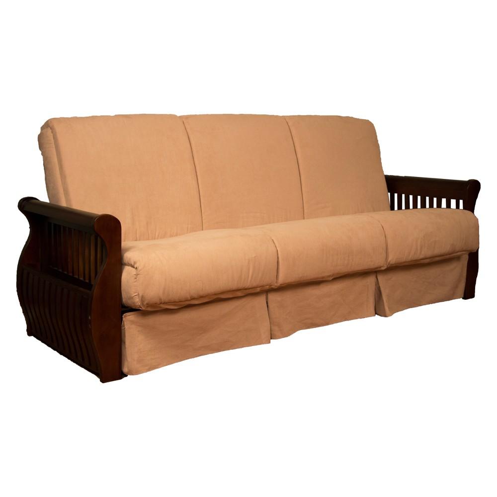 Storage Arm Perfect Futon Sofa Sleeper Walnut Wood Finish Khaki (Green) - Epic Furnishings