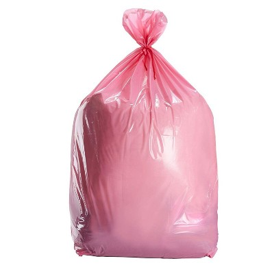 Juvale Pink Large Gift Bags - 6-Pack Jumbo Plastic Sack for Wrapping Oversized Gifts, 36 x 48 Inches, Includes Red String