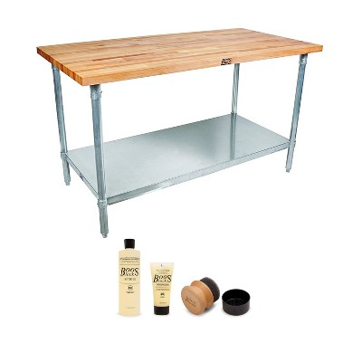 """John Boos Maple Wood Top Work Table 48 x 24 x 1.5"""" with Adjustable Lower Shelf and 3 Piece Wood Cutting Board Care and Maintenance Set"""