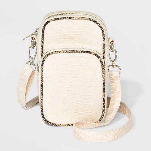 Canvas Cellphone Crossbody Bag - Wild Fable™ Cream - image 1 of 3