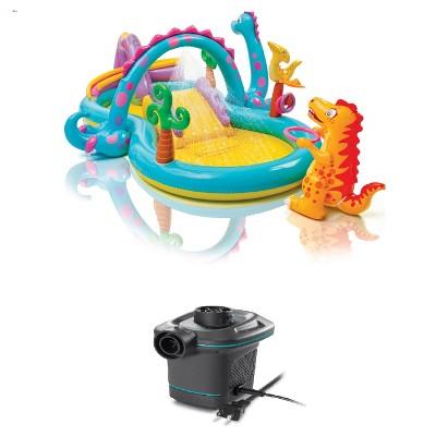 "Intex 11' x 7.5' x 44"" Play Center Kiddie Pool & 120V Electric Air Pump"