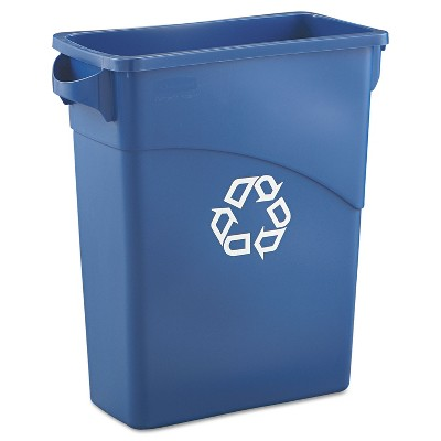 Rubbermaid Commercial Slim Jim Recycling W/Handles Rectangular Plastic 15.875gal Blue 1971257