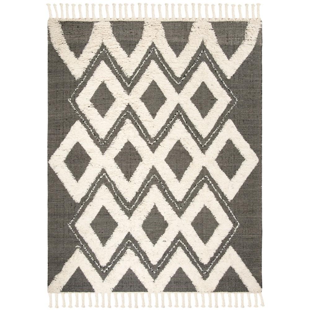 8'X10' Geometric Knotted Area Rug Black/Ivory - Safavieh